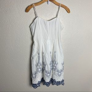 Dance & Marvel white blue lace medium spring dress